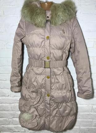 Бежевый зимний пуховик, удлиненная куртка, плащ с капюшоном с мехом с карманами vininus
