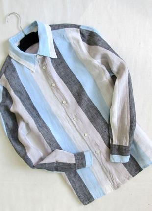 Распродажа🎁🎃🎃🎃🎃marks & spencer/ льняная рубашка в полоску оверсайз/💯 % лен