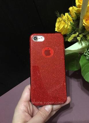 Крутой силиконовый блестящий чехол на айфон iphone 6/6s iphone 7 красный
