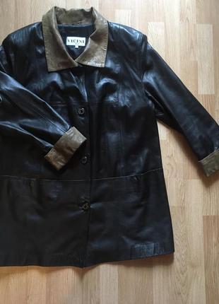 Шикарное кожаное женское пальто vicini, италия, размер хл, 50-52