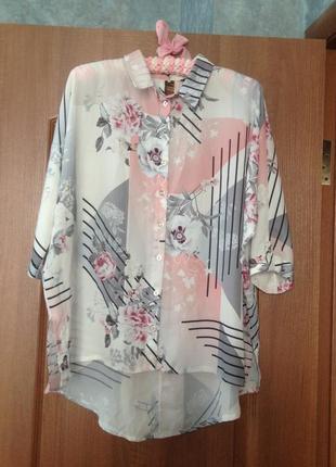 Белая блуза блузка в красивые цветы от select р.12 l. лучшая цена!!