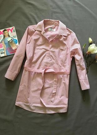 Стильная рубашка в полоску с поясом