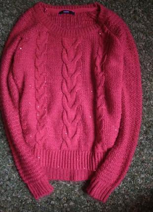Теплый свитер крупной вязки с пайетками