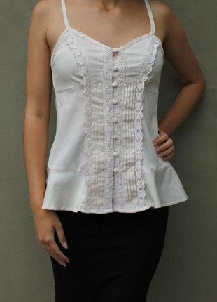 Блуза топ майка на бретелях с кружевом в винтажном стиле бохо этно