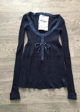 Темно синяя кофта abercrombie в составе шерсть