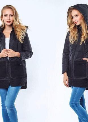 Тёплая куртка pocket с капюшоном