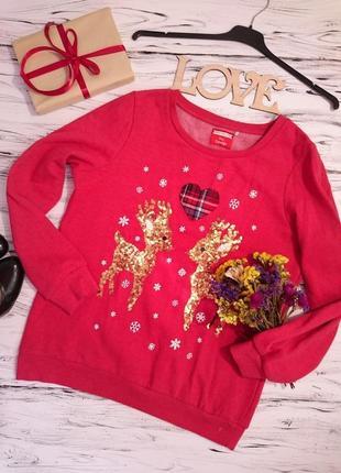 Красивый теплый свитер с оленятами 12-14