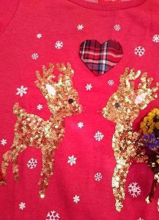 Красивый теплый свитер с оленятами 12-142