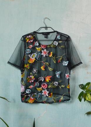 Вышитая расшитая футболка сетка блуза с вышивкой