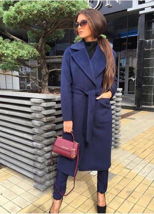 Кашемировое пальто в стиле zara прямого кроя с запахом
