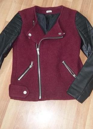 Куртка-пальто,косуха,кожаные рукава.шерсть р-р с-м