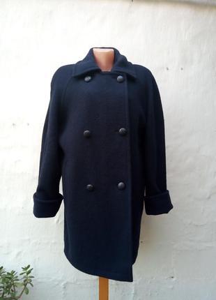 Стильное темно синее шерстяное полу-пальто,oversize,бушлат,классическое,жакет.