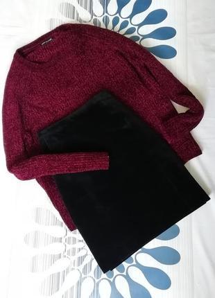 Черная юбка бархатная мини трапеция чорна спідниця а силуэта высокой посадке талии