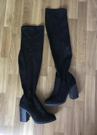 Стильные чёрные сапоги чулки ботфорты