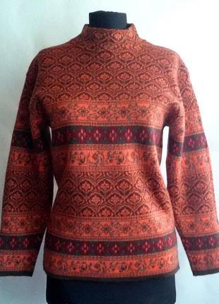 Шерсть 100%! уютный свитерок с орнаментом, размер s
