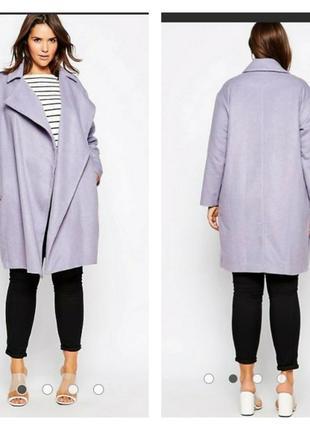 Лиловое пальто asos, большой размер