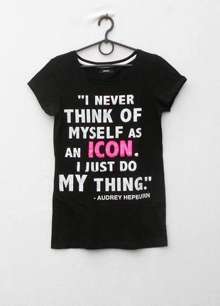 Черная хлопковая спортивная трикотажная футболка с надписью