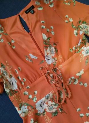 Стильна романтична сукня- міді. шифон. квітковий принт.(платье миди, принт.)