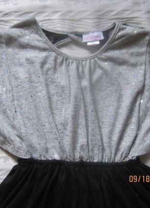 Стильное нарядное  теплое платье с паетками и кружевной спинкой