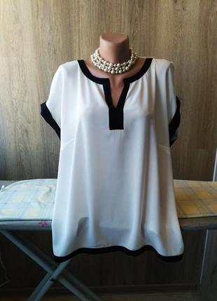 Красивая контрастная блуза, батал, большой размер, 50-52-54