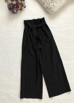 Стильные черные брюки штаны кюлоты xs- s размер