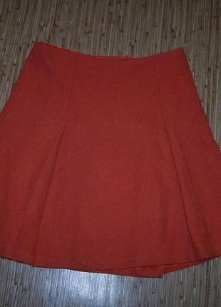 Юбка-клеш оранжевая ralph lauren 80%шерсть