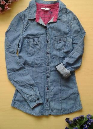 Джинсовая рубашка tally weijl, xs (34), 100% хлопок