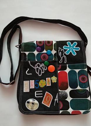 af157626f475 Модная яркая подростковая молодежная сумка через плечо с нашивками  регулирующим ремешком