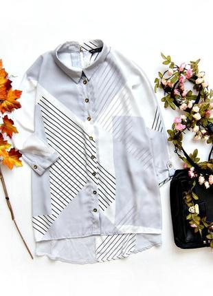 Шифоновая рубашка с геометрический рисунком
