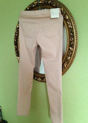 Джеггинсы джинсы на резинке стрейч высокая посадка цвет пудра1 фото