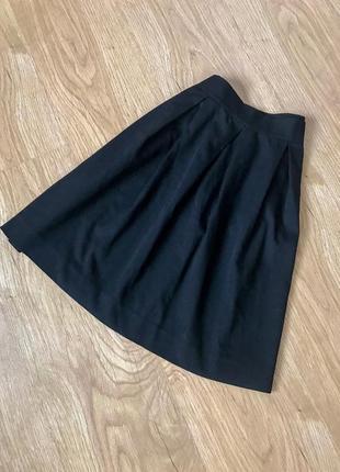 Черная юбка в складки , школьная юбка , базовая, офисная