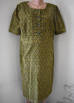 Осеннее вельветовое платье с принтом большого размера