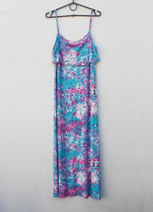 Летнее трикотажное коктейльное платье в пол из вискозы с рюшей