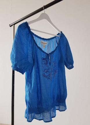 Голубая блузка abercrombie & fitch с орнаментом3 фото