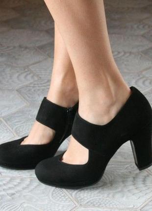"""Кожаные туфли 38р классические черные англия """"buffalo"""" полуботинки ботильоны"""