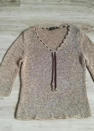 Вязаный свитер с завязками!