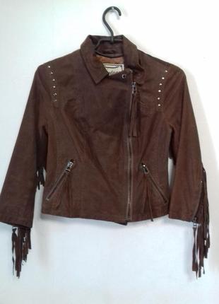 Суперская куртка из натуральной кожи в ковбойском винтажном стиле с бахромой new look
