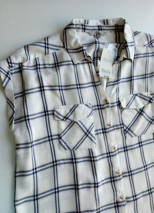 100% вискоза  блуза без рукавов в клетку из натуральной ткани