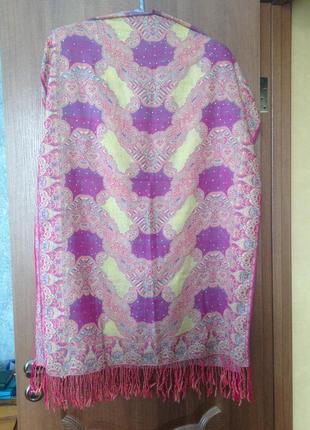 Роскошный индийский шарф шаль палантин парео в сказочные узоры. лучшая цена!