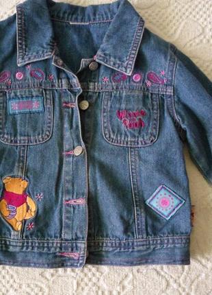 Джинсовый пиджак, куртка, с винни пухом
