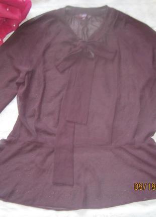Шикарная блуза  для офиса винного оттенка с бантом