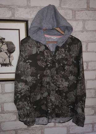H&m стильная рубашка с капюшоном о 146 см 10-11л
