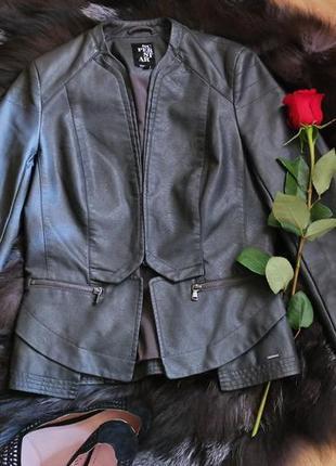 Курточка - пиджак из эко кожи графитного цвета