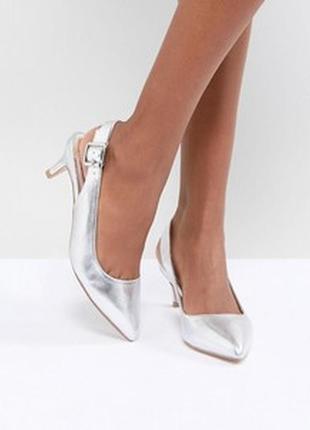 Туфли - лодочки с открытой пяткой, цвет металлик.