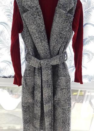 Новое пальто шерсть букле без рукавов жилет + свитер под горло гольф
