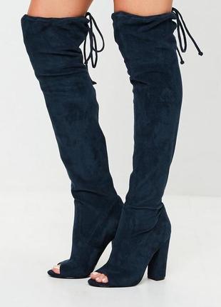 Актуальные замшевые сапоги ботфорты с открытым носком missguided новые