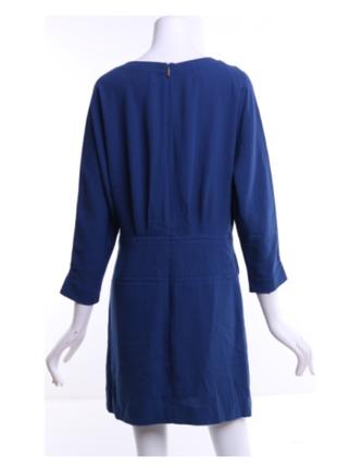 Короткое синее платье на подкладке цельнокройный рукав размер m/l