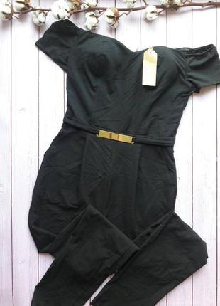 Стильный,  нарядный черный комбинезон с декоративным поясом tally weijl