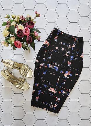 Трикотажная хлопковая юбка карандаш в цветочный принт