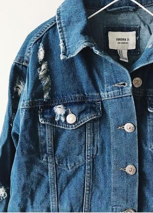 Forever 21 куртка джинсовая рваная